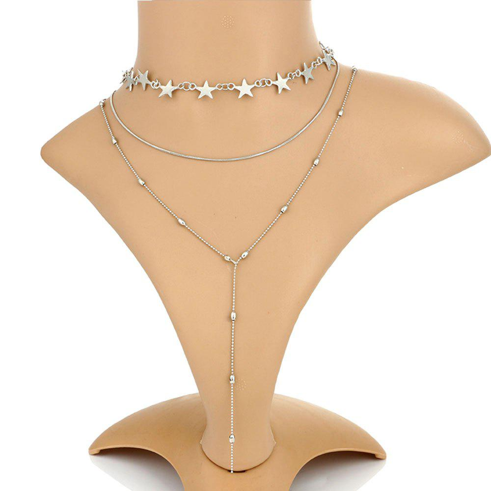 2pcs Fringed Beads and Star Chains Beautiful Necklace Set - SILVER