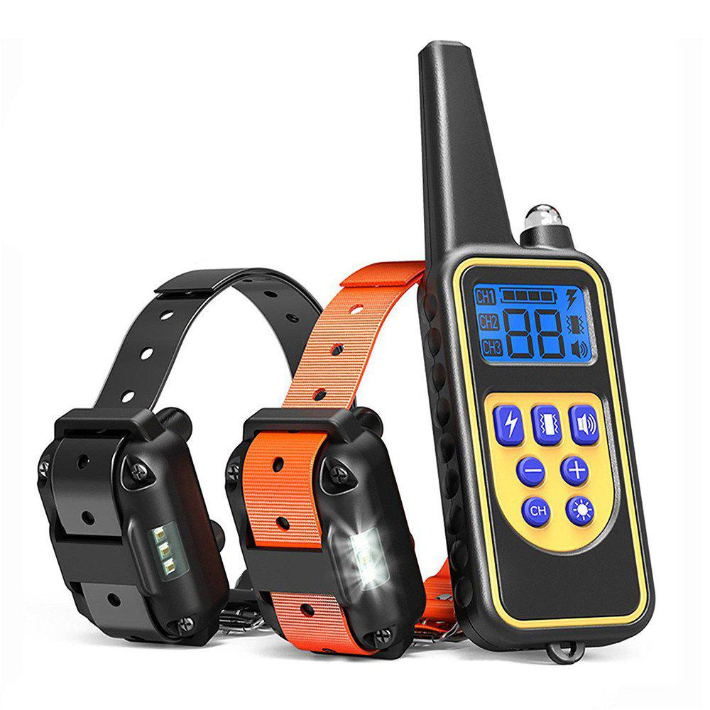 Shock Training Collar Electronic Remote Control Waterproof 875 Yards 2 Dogs - BLACK EU PLUG