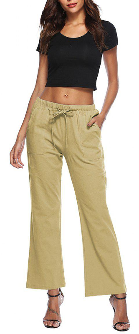 Solid Color Drawstring Loose Pocket Bell-Bottoms - LIGHT KHAKI M