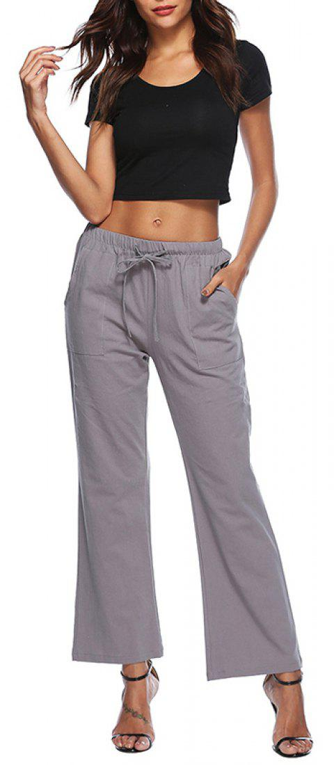 Solid Color Drawstring Loose Pocket Bell-Bottoms - SLATE GRAY XL