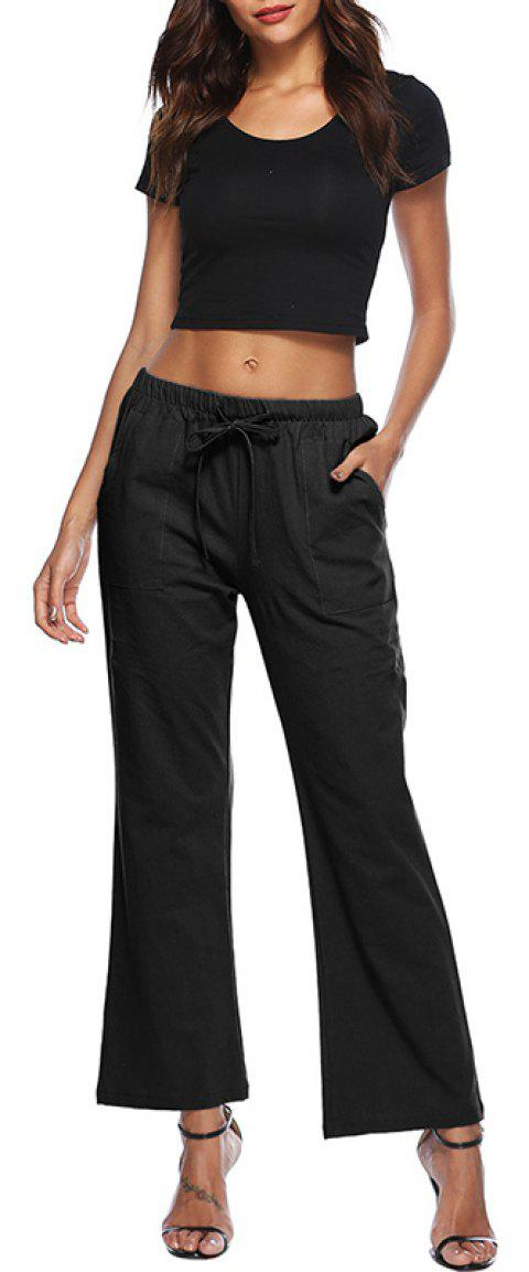 Solid Color Drawstring Loose Pocket Bell-Bottoms - BLACK S