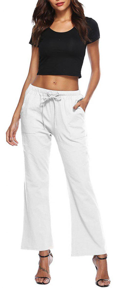 Solid Color Drawstring Loose Pocket Bell-Bottoms - WHITE 4XL