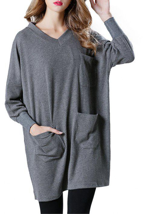 Solid Color Loose Casual Knitted Long Sleeve Dress - DARK GRAY ONE SIZE