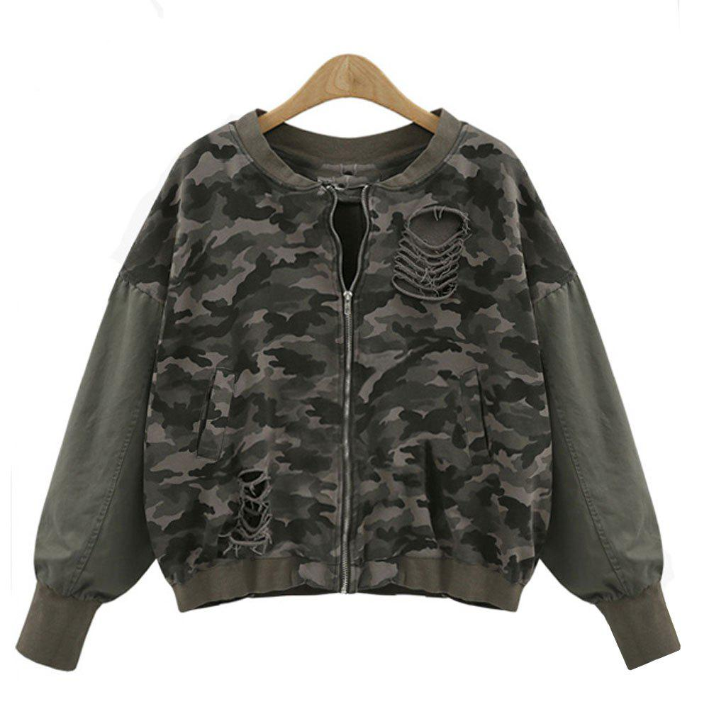 Women's  Casual Wash Water Hole Sleeves Color Camouflage Jacket - ARMY GREEN M