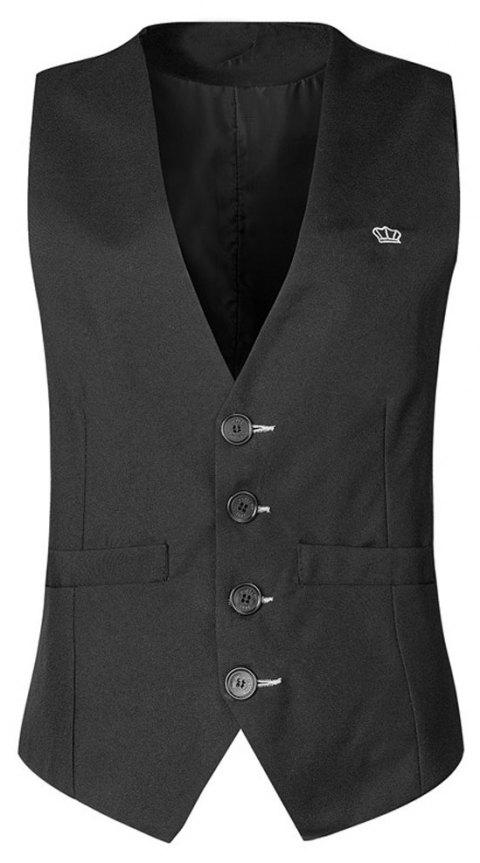 Men's  Fashion Casual Solid Color Suit Vest - BLACK XL