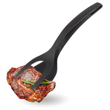 Silicone 2 in 1 Food Clip with Flat Spatula - BLACK