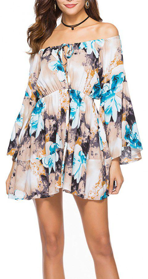 Women's Slash Neck Fashion Print Elastic Waist Flare Sleeve Above Knee Dress - BLUE XL