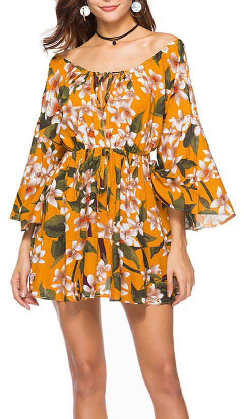 Women's Slash Neck Fashion Print Elastic Waist Flare Sleeve Above Knee Dress - BEER L