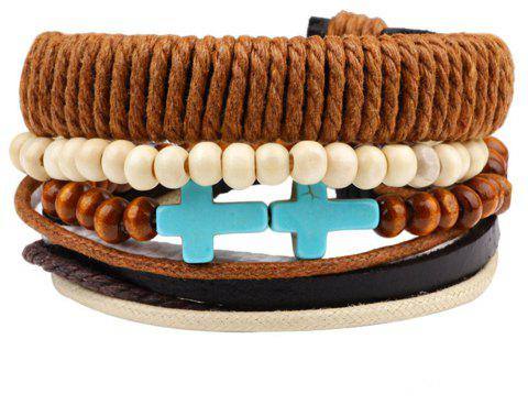 Multi Circle Ornaments Combination Hand Bracelet - LIGHT BROWN
