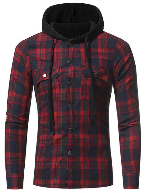 Flannel Large  Plaid Double Pocket Hooded Casual Men's Long Sleeve Shirt - RED 2XL