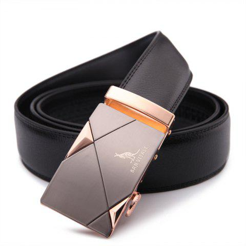 SAN VITALE Slim Stretch Buckle Belt Men Strap - BLACK 115CM