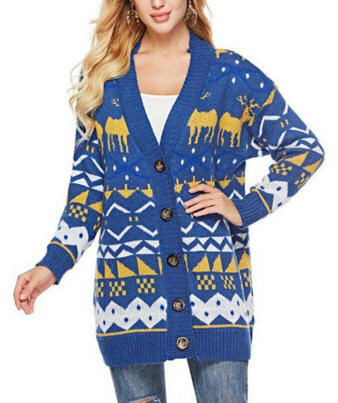 Jacquard Long Sleeved Sweater - OCEAN BLUE ONE SIZE