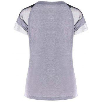 Screen Yarn Round Collar Short Sleeved T-shirt - PLATINUM XL