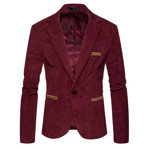 Men's Fashion Corduroy Color Matching Casual Suit - RED WINE L