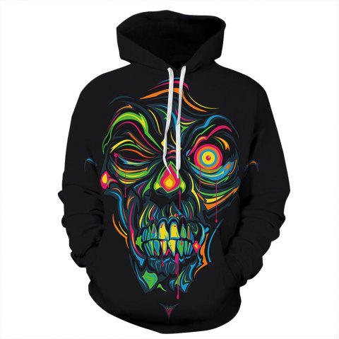 Graffiti Skeleton Digital Printing Long Sleeve Hoodie Hip Hop Clothes - multicolor B XL
