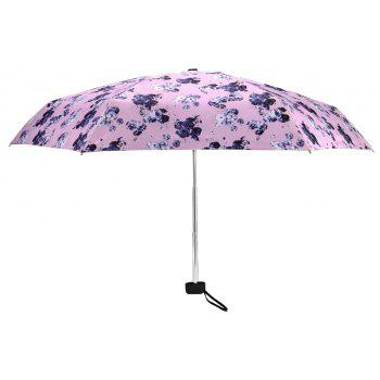 Mini Print Anti UV Umbrella Folding Pocket Umbrella Outdoor Sunshade - multicolor A