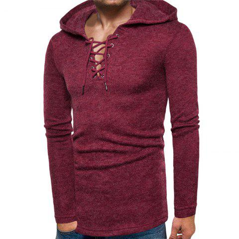 Men s Casual Lace Up Solid Colored Hooded Pullover Sweater - RED WINE XL 3fda8e312