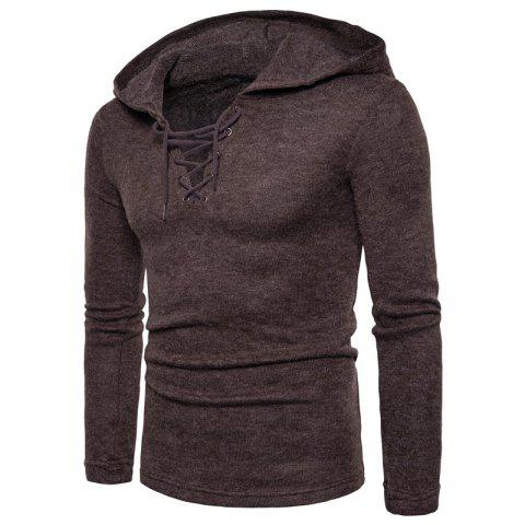 2019 Men s Casual Lace Up Solid Colored Hooded Pullover Sweater In ... a47f9ac3a