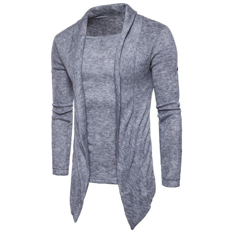Men's Casual Change Sleeves Solid Colored Pullover Sweater - LIGHT SLATE GRAY L