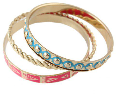 3pcs Fashion Colorful Enamel Metal Geometry Bracelet - multicolor