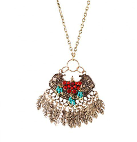 Fashion Metal Long Chain Geometric Leaves Tassels Pendant Necklace - multicolor