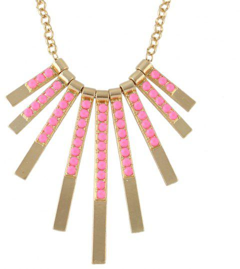 Fashion Metal Long Chain Geometry Tassels Pendant Necklace - multicolor A