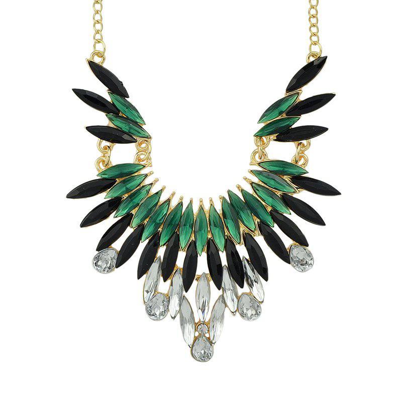 Fashion Beautiful Gemstone Geometry Pendant Necklace with Metal Chain - multicolor A