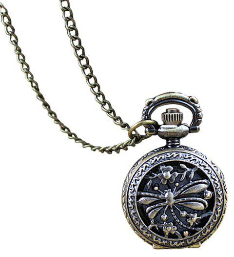 Fashion Carved Dragonfly Round Shape Pocket Watch - multicolor