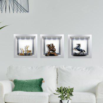 Simulation Lamp 3D Wall Paste Living Room Sofa Triple Stickers Painting BG-007 - multicolor