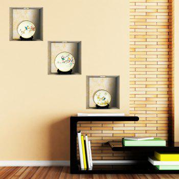 Simulation Lamp 3D Wall Paste Living Room Sofa Triple Stickers Painting BG-013 - multicolor