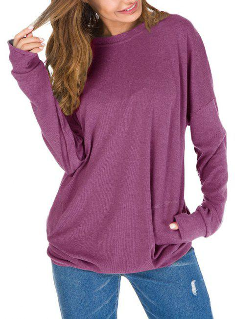 Solid Color Pocket Pullover Long Sleeve T Shirt - PLUM M