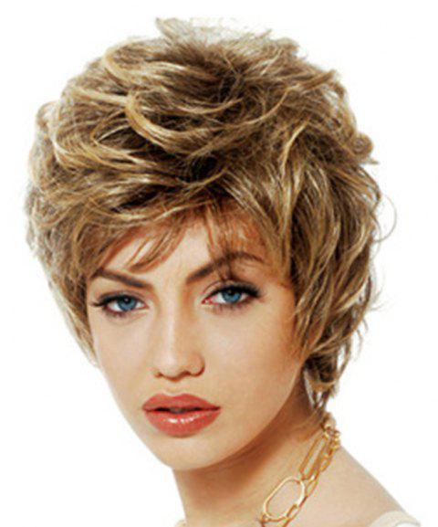 Fashionable Fluffy Small Curl Short Wig - GOLD
