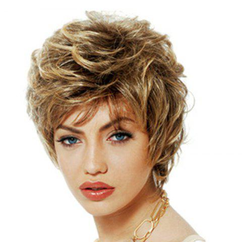 Fashionable Fluffy Small Curl Short Wig - GOLD 12INCH