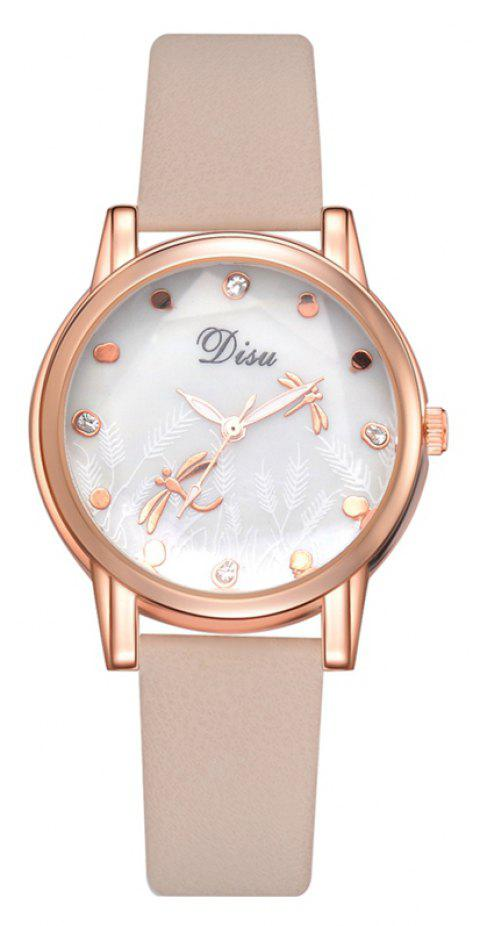 Disu DS151 Dragonfly Dial Ladies Rose Gold Quartz Watch - BEIGE