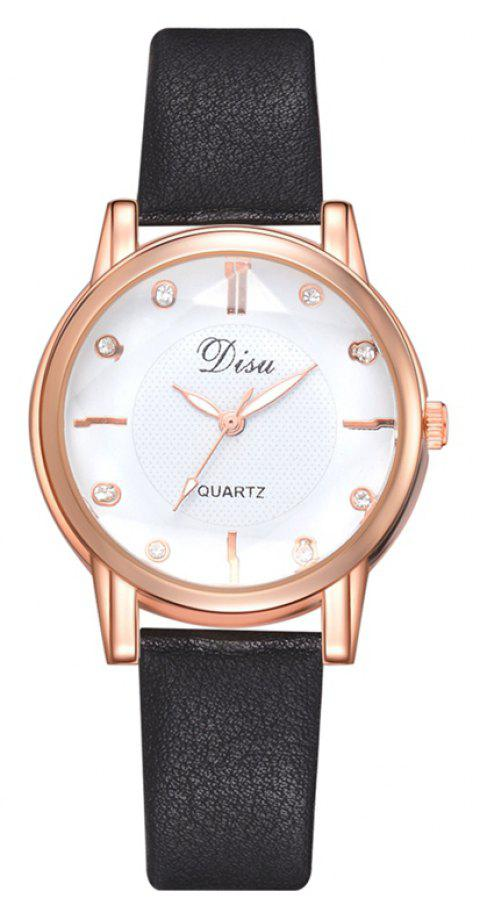 Disu DS152 Women PU Leather Quartz Watch - BLACK