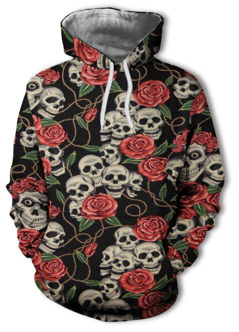 Sweat à capuche Rose Skull Print pour Homme - multicolor B 3XL