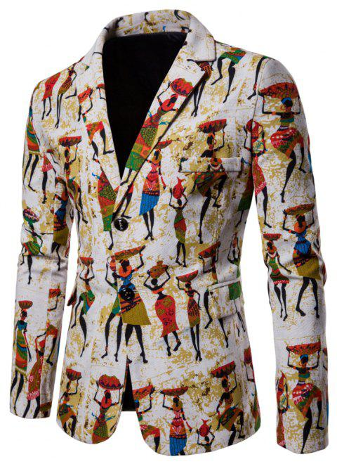 Men's Long Sleeves Out Large Size Ethnic Style Print Blazer - multicolor B L
