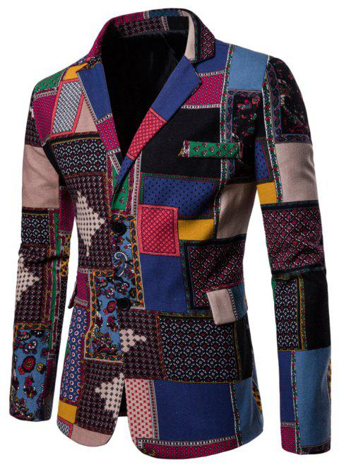 Men's Long Sleeves Out Large Size Ethnic Style Print Blazer - multicolor A XL