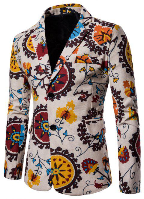 Men's Long Sleeves Out Large Size Ethnic Style Print Blazer - multicolor E XL