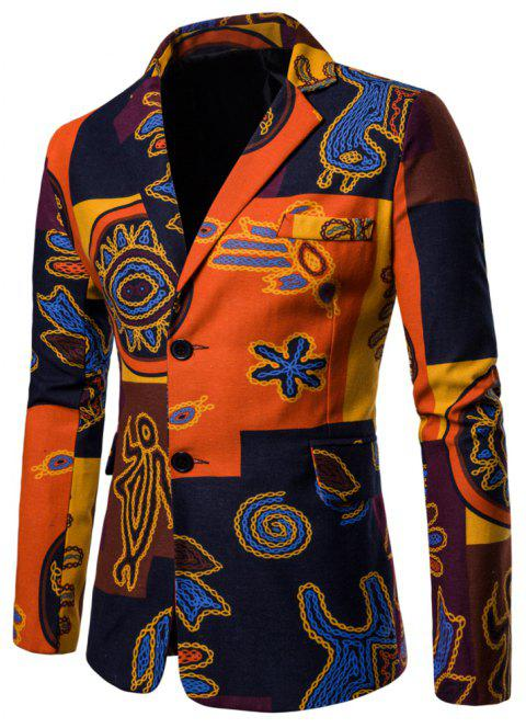 Men's Long Sleeves Out Large Size Ethnic Style Print Blazer - multicolor C 2XL