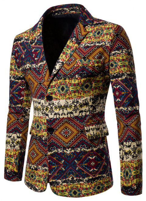 Men's Long Sleeves Out Large Size Ethnic Style Print Blazer - multicolor D XL