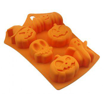 Moule à Gâteaux en Silicone 6 Trous Halloween - Orange Halloween
