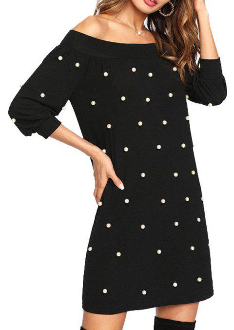 Autumn Style One-Neck Solid Color Women's Dress - BLACK S