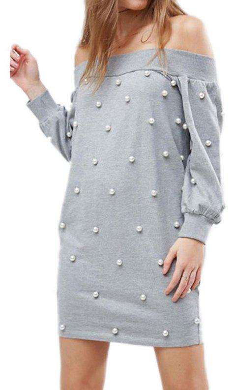 Autumn Style One-Neck Solid Color Women's Dress - LIGHT GRAY S