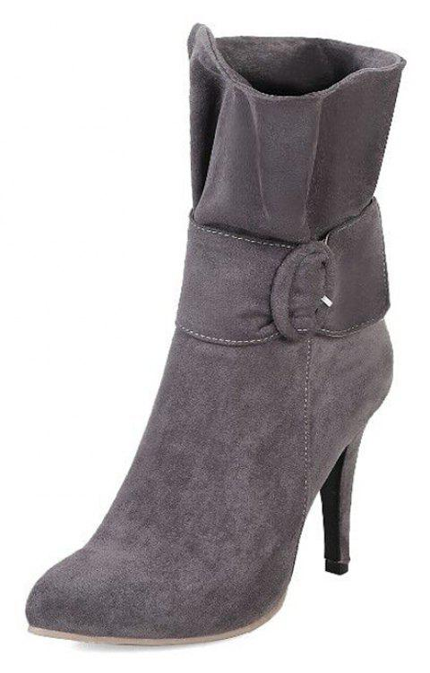 Lotus Leaf Slim  High Pointed Velvet Strap Wedding Banquet Boots - GRAY EU 40.5