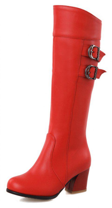 Warm Winter Thick Heel Strap with Solid Color Zipper Knee Boots - RED EU 35