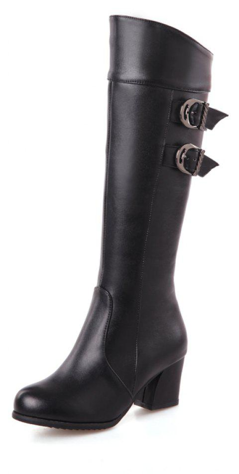 Warm Winter Thick Heel Strap with Solid Color Zipper Knee Boots - BLACK EU 38
