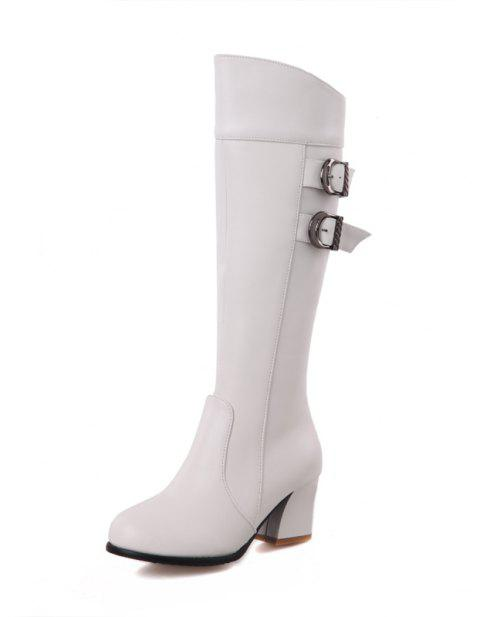 Warm Winter Thick Heel Strap with Solid Color Zipper Knee Boots - WHITE EU 38