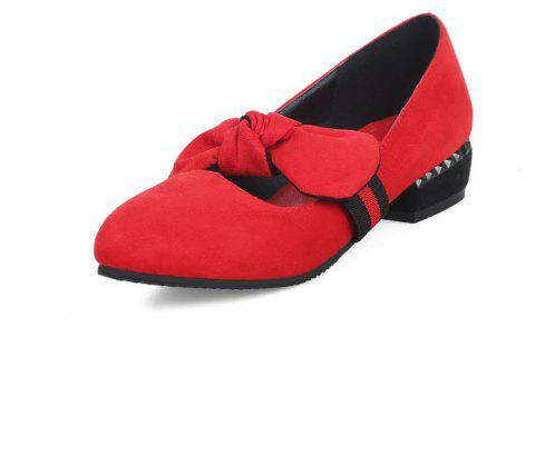 Velveteen Sweet Medium Thick with Simple Student Shoes - RED EU 40