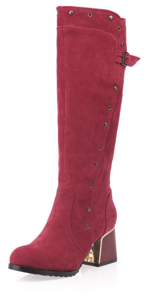 Rivet Medium Thick Follow Frosted Zipper Belt with Lapel Knee Boots - RED WINE EU 42